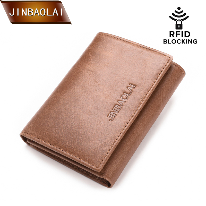 JINBAOLAI Genuine Leather Men Wallets Trifold Wallet with Double ID Window RFID Blocking Credit Card Holder Coin Purse Carteira