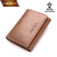 b698543bb JINBAOLAI Genuine Leather Men Wallets Trifold Wallet With Double ID Window  RFID Blocking Credit Card Holder