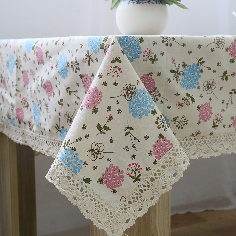 Hyacinth Flower Linen Table Cloth Country Style Flower Print Multifunctional Rectangle Table Cover Tablecloth with Lace Edge