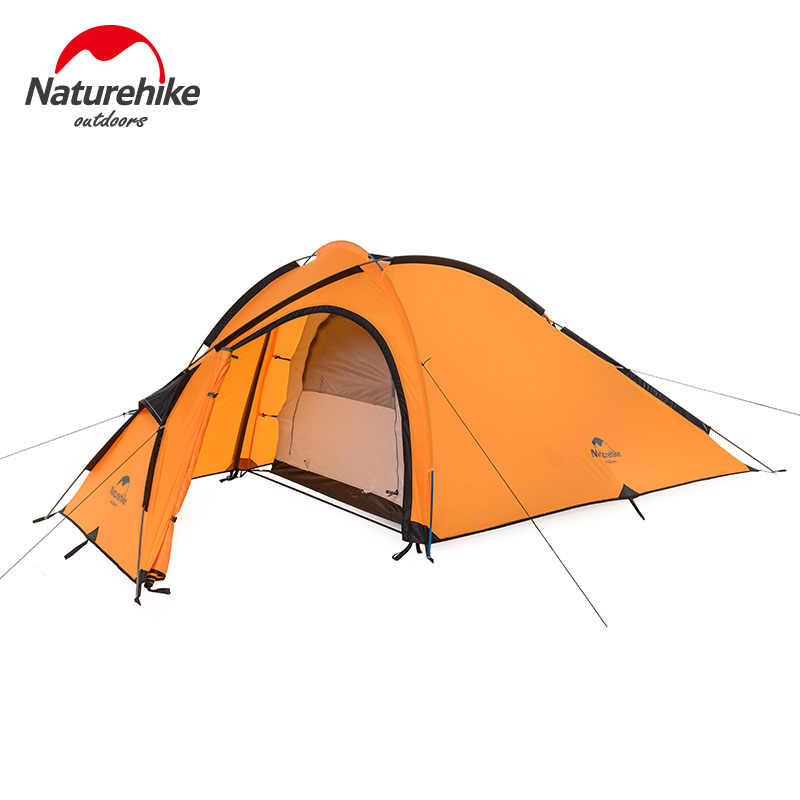 Naturehike Camping Tent 3 Person 210T One Bedroom One Living Room Double Layers Camp Waterproof NH Outdoor Family Tent 4 Season naturehike 3 person camping tent 20d 210t fabric waterproof double layer one bedroom 3 season aluminum rod outdoor camp tent