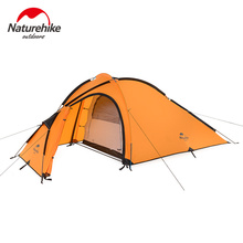 Naturehike Camping Tent 3 Person 210T One Bedroom One Living Room Double Layers Camp Waterproof NH Outdoor Family Tent 4 Season