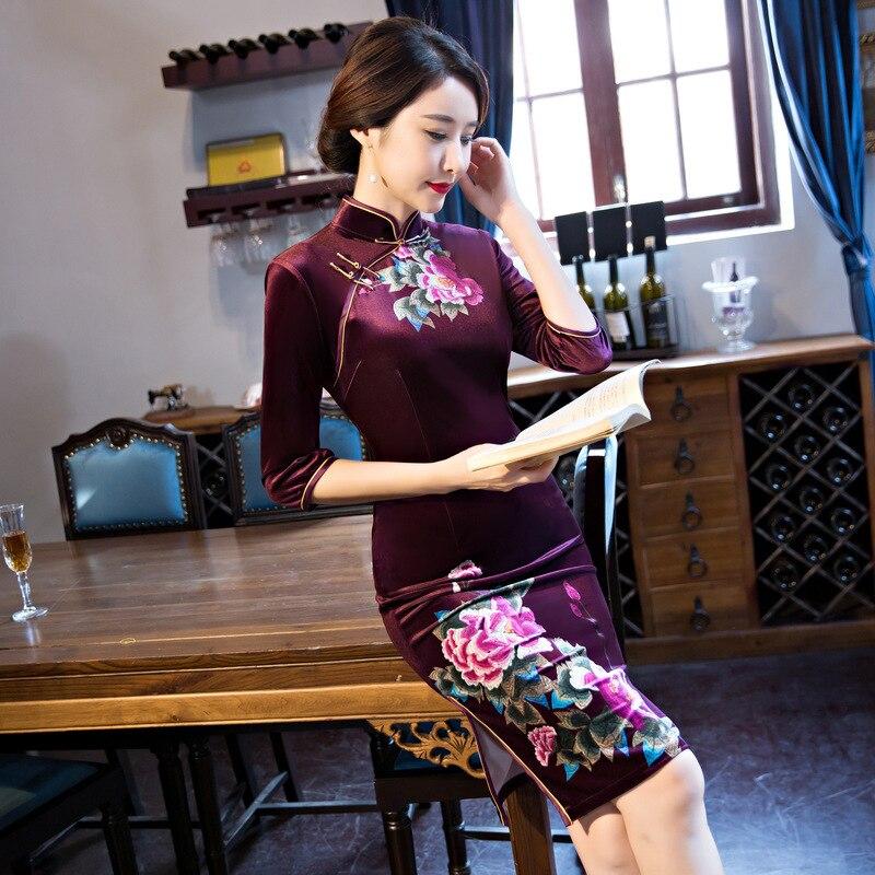 Red De Séduisante Robe 102606 Mini sam blue Chinois Black L Qipao M 3xl Velours Xxl Soie Xl Traditionnel Style purple Bleu Nouveau Vintage Femmes Sexy wine Cheong q6FFWY