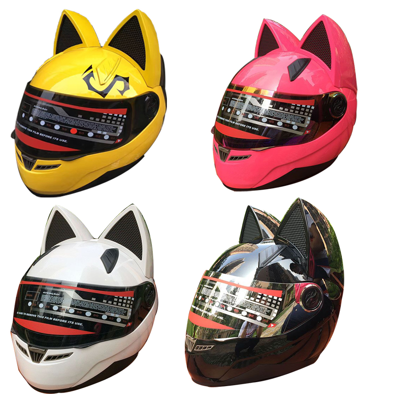 Helmet Ears Cat Stick Motorcycle Casco Full Face Horns Snowboard Racing Large
