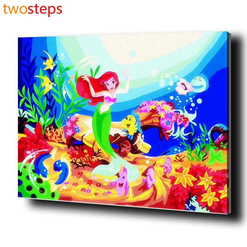 TwoSteps DIY Digital Canvas Oil Painting By Numbers Pictures Coloring By Numbers Modern Acrylic Paint By Number Mermaid Princess
