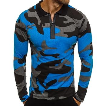 d08914e210080bf ZOGAA 2019 Новая мужская рубашка поло с длинными рукавами модная Военная  камуфляжная рубашка поло весна осень Мужская Облегающая рубашка поло