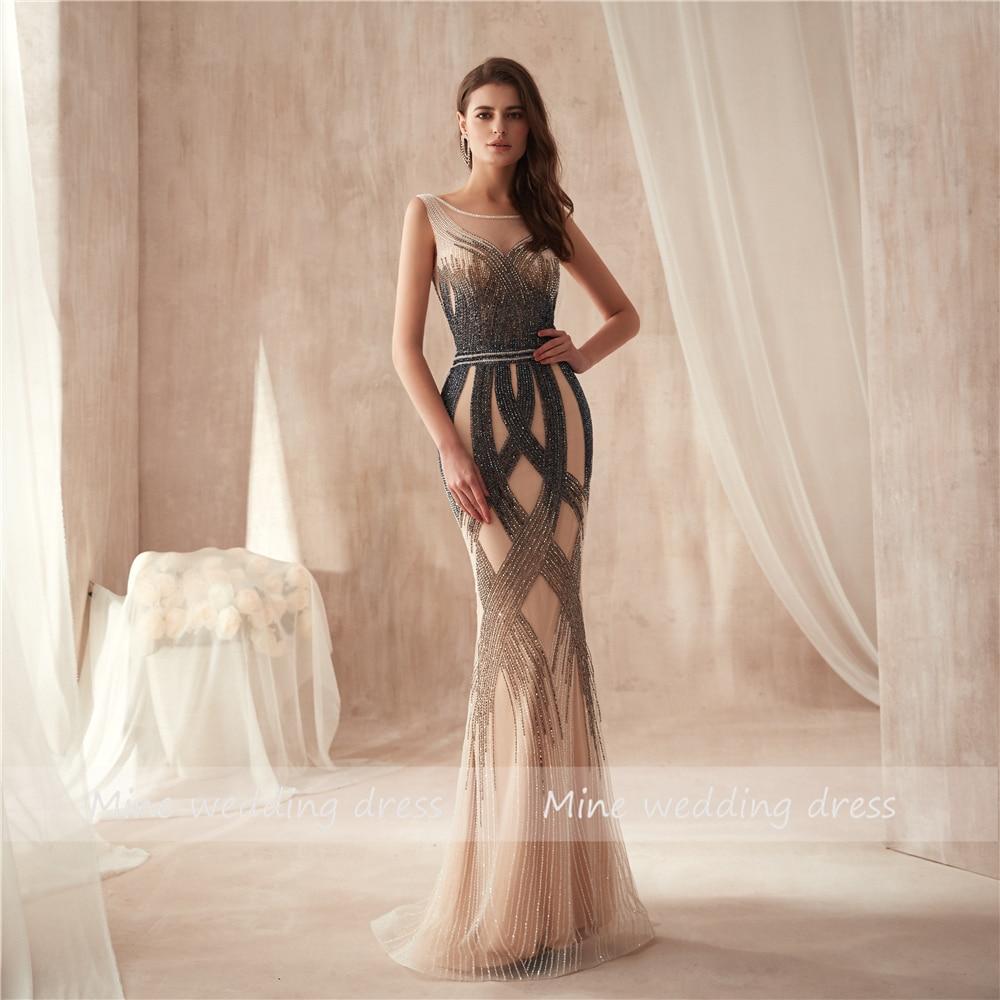 O-neck High Design Multicolor Beading Mermaid Prom Dress 2019 Sleveless Slim High Quality Evening Dress vestido de festa
