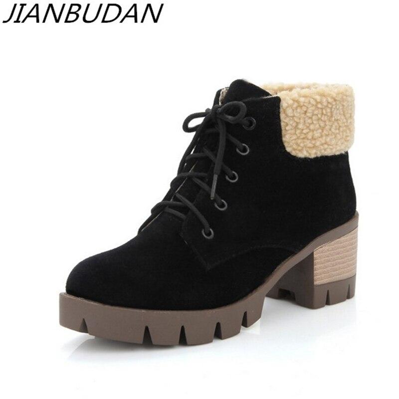 JIANBUDAN Winter Plush Casual cotton boots Womens 6.5cm High heel warm snow Lace-up Suede fur Warm shoes 36-43 large size