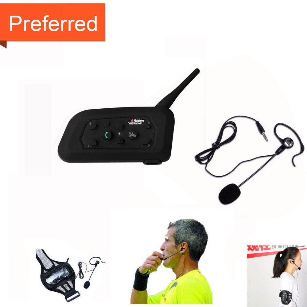 Football Referee Arbitro Headset Earhook Earphone 1PC V6 1200M Intercom Full Duplex Two way Coach Judger