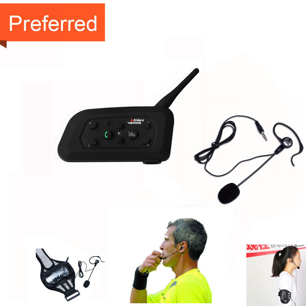 Football Referee Arbitro Headset Earhook Earphone 1PC V6 1200M Intercom Full Duplex Two way Coach Judger Arbitration Earphone-in Helmet Headsets from Automobiles & Motorcycles    1