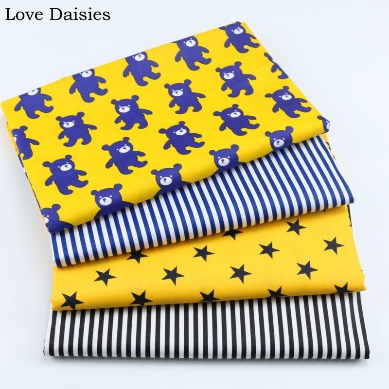100% cotton twill YELLOW cartoon navy bear stars blue stripe stripe fabric for DIY crib bedding sheet cushions handwork decor
