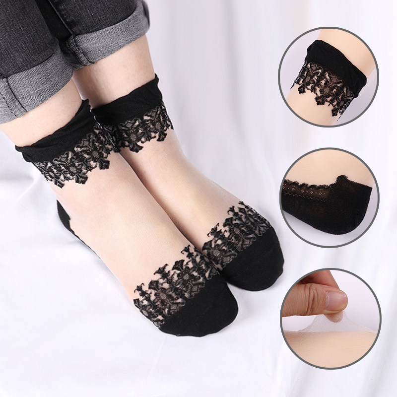 10Pcs=5 Pair/Lot Hot Sale Cool Breathable Summer Style Sexy Black Skin   Socks   Pure Color Lace Women Girls Nylon   Socks