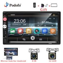 """Podofo 2din Auto Radio 7 """"Schermo di Tocco di HD mirrorlink Bluetooth Multimedia MP5 Lettore 2 din Autoradio Auto Backup Monitor stereo"""