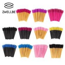 Zwellbe yeni kaliteli tek kullanımlık 50 adet/paket kirpik göz kirpik makyaj fırçası Mini maskara fırçaları fırça kirpik uzatma aracı