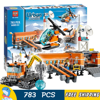 783pcs City Arctic Base Camp Ice Snow Explorer Station 10442 Figure Building Blocks Assemble Hot Toys  Compatible with LagoING