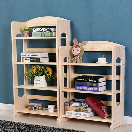 Bookcases Living Room Furniture Home Pine Solid Wood Kids Bookshelf Simple Storage Racks Cabinet Display