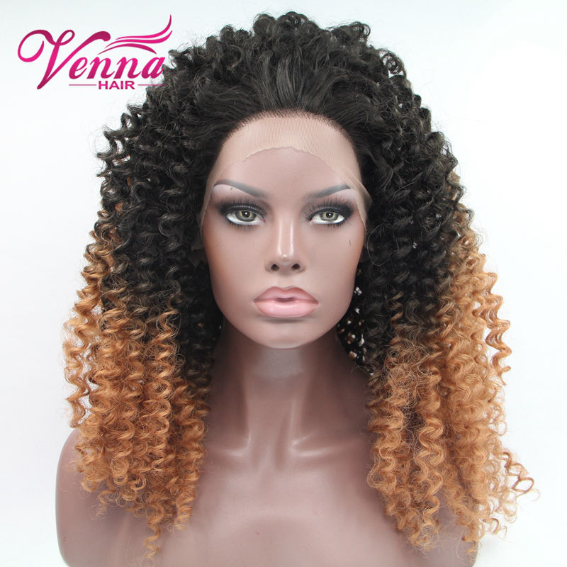 Fashion Black Brown Ombre Cosplay Wig Lace Front Wig Tight Kinky Curly Short Heat Resistant Synthetic