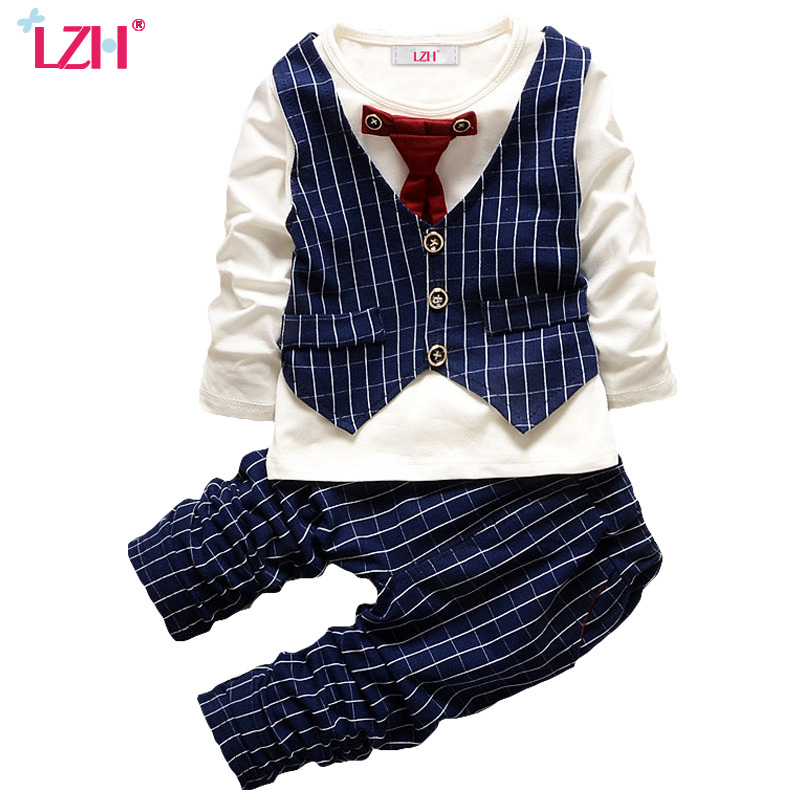 LZH Toddler Boys Clothing 2017 Autumn Winter Baby Boys Clothes Sets Gentleman T-shirt+Pants Kids Boy Sport Suit Children Clothes baby boy clothes 2017 brand summer kids clothes sets t shirt pants suit clothing set star printed clothes newborn sport suits