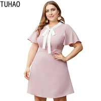 TUHAO work cloth 2019 summer dress high waist office lady pink plus size 4XL 3XL women's elegant women dresses large size WL177