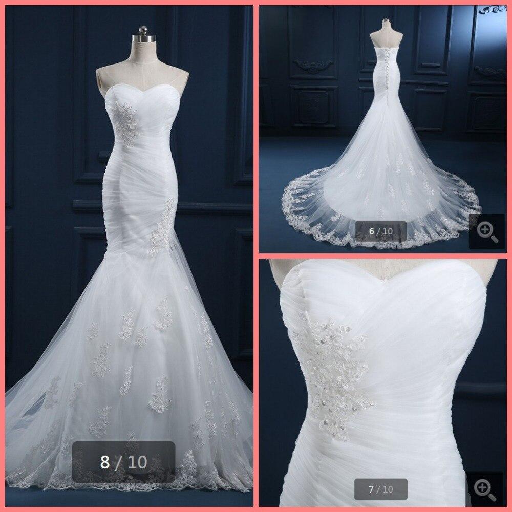 2015 самых продаваемых русалка белые кружева платья реальную картину свадебные платья плиссированные без бретелек свадебные платья
