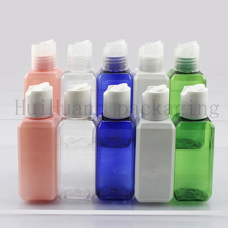 100pcs 50ml white Disc top cap square travel empty PET plastic sample bottle Mini oil plastic