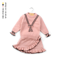 Baby Girl Knitting Skirt Sets New Arrival Children Girls Cute Pullovers Sweaters+tutu Skirt Girl Sets Children Clothing Suits