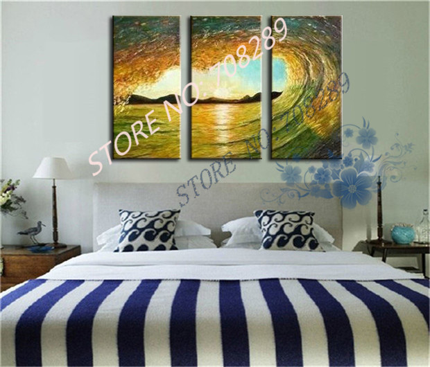 Golden waves Wholesale ensure Hand painted gift Home decoration Cheap Abstract the Modernist Wall art Oil Painting Picture
