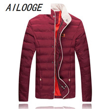 AILOOGE Casual Warm Men Down Jacket 2017 New Arrival Brand Design Thick Winter Slim Fashion Outwear Coats Male Cotton Parka