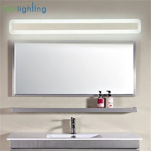 Image 1 - 110/240V L40cm 50cm 60cm 70cm מודרני עיצוב אמנות אקריליק אמבטיה מראה אור ארוך יהירות איפור קיר מנורת חלבי אסלה תאורה