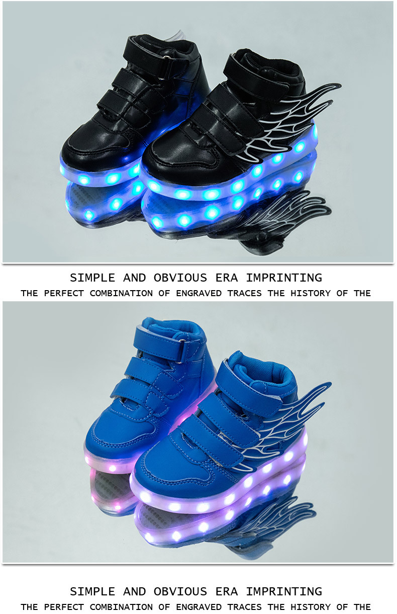 HTB1t.qAef5TBuNjSspmq6yDRVXac - UncleJerry Kids Light up Shoes with wing Children Led Shoes Boys Girls Glowing Luminous Sneakers USB Charging Boy Fashion Shoes