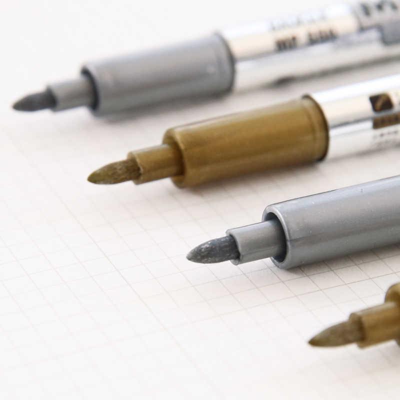 1 Máy tính Tranh Sơn Dầu của Bút Kim Loại Màu Vàng và Bạc Từ 1.5mm Dấu Bút Học Sinh Sinh Viên vật Dụng văn phòng Viên Đạn Tạp Chí