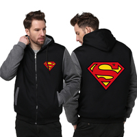 2017 New Super Heros Superman Men Women Zipper Jacket Winter Thicken Hoodie Sweatshirts Fashion Casual Coat