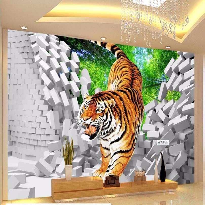 3D ילדים טפט נמר למטה שבור קיר גדול קיר לילדים חדר ילדים קיר קיר טלוויזיה בסלון ספה רקע קיר 3 ד