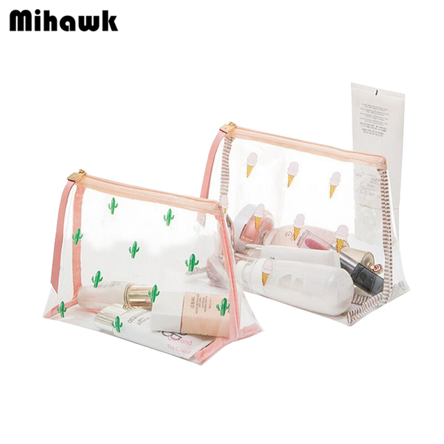Mihawk Cute Pvc Mini Cosmetic Bag Transpa Waterproof Clear Organizer Pouch Lovely Makeup Bags Beauty Accessory