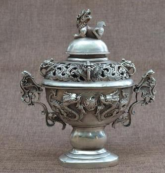 China collection archaize white copper double Dragon play pearl Incense burner