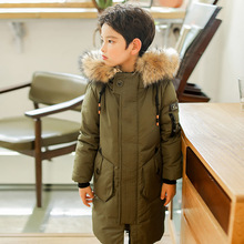 -30 Degree Thick Warm Down Jackets Winter Boys Duck Down Coats Children Natural Fur Long Outwear Kids Hooded Clothes Snowsuits
