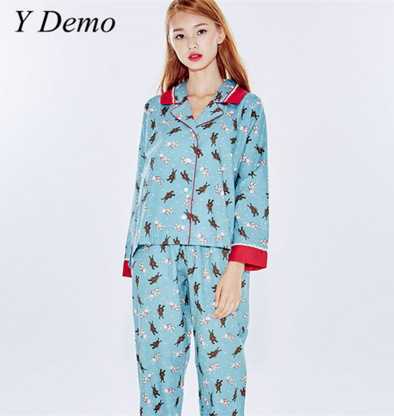 Y Demo 2018 New Cute Rabbit Printing Pajamas Suit Soft Turn-down Collar Shirt Long Pants Womens Pajamas Sleeping Suits