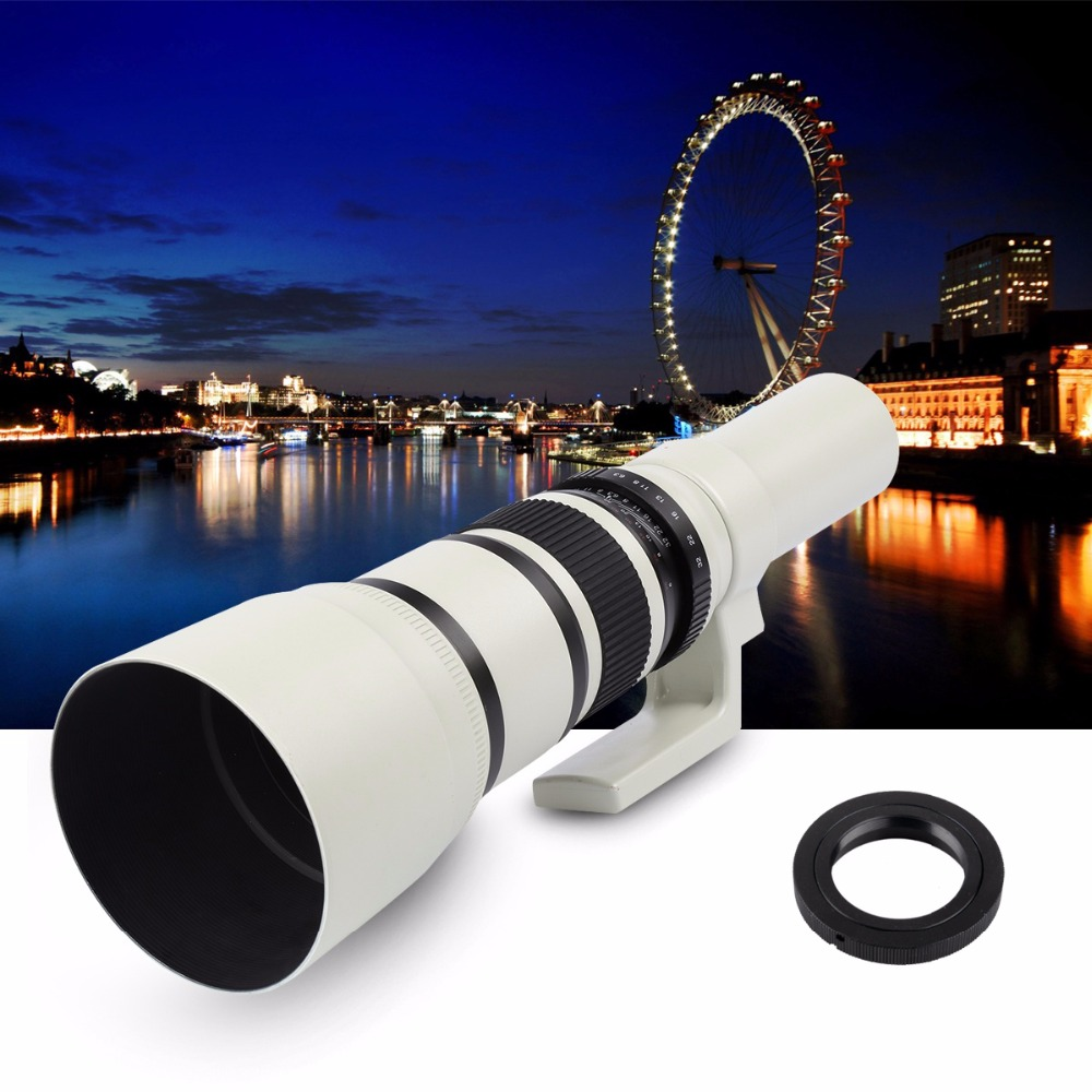 White 500mm F/6.3 Telephoto Fixed Prime Telephoto Lens+T2 Lens Adapter Ring for Canon Nikon Sony Pentax DSLR Cameras 6