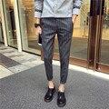 28-42! 2016 мужская одежда летом плед узкие брюки полосой лодыжки длина брюки повседневная конические обрезанные брюки певица костюмы