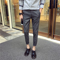 28-42 ! 2016 Men's clothing summer plaid skinny pants stripe ankle length trousers casual taper cropped pants singer costumes