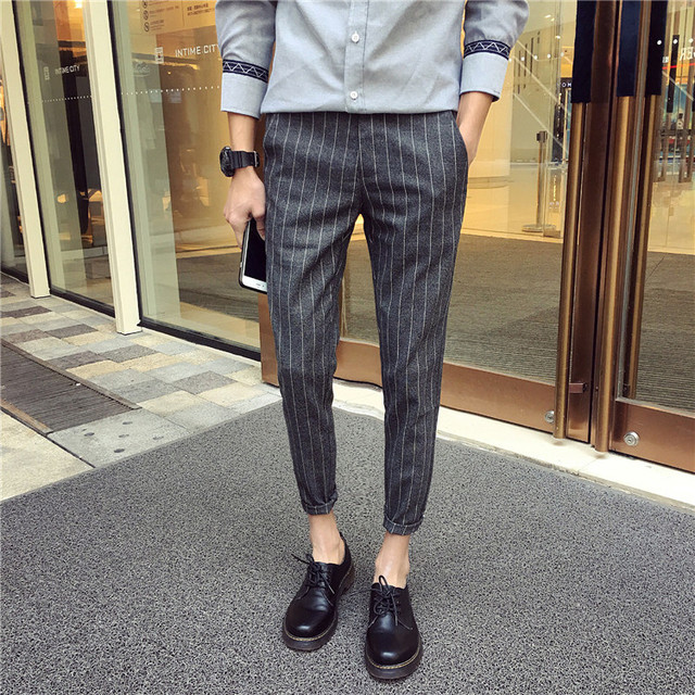 28 42 2016 Men S Clothing Summer Plaid Skinny Pants Stripe Ankle
