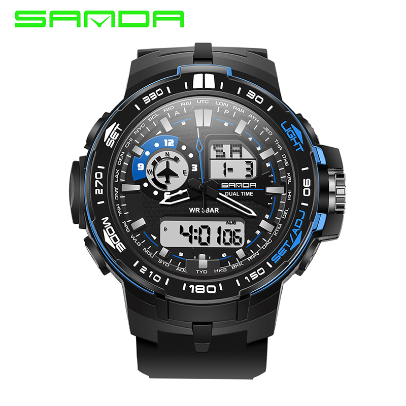 SANDA Brand New Fashion Watches Men Sports Watches Digital Analog Multifunctional Alarm Military Watches Relogio Masculino