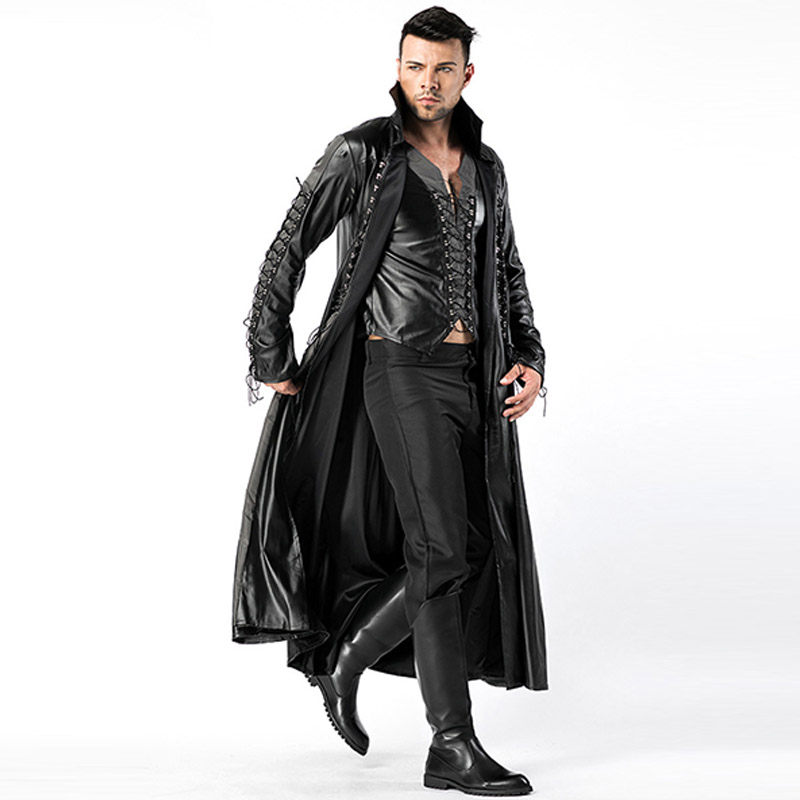 2018 New Adult Mens Halloween Vampire Costumes Faux Leather Outfits Fancy Party Devil Cosplay Dresses With Long Coat and Pants (6)