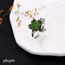 KJJEAXCMY boutique jewelry S925 Sterling Silver Antique inlaid and Tian Biyu lotus Cloisonne lady high-end open ring