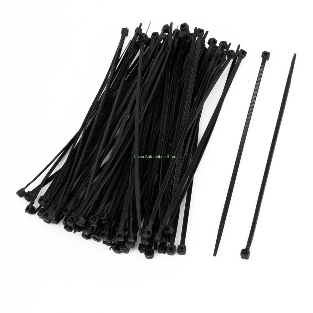 IMC Hot 100 Pcs 150mm x <font><b>2mm</b></font> Electrical <font><b>Cable</b></font> <font><b>Tie</b></font> Wrap Nylon Fastening Black image
