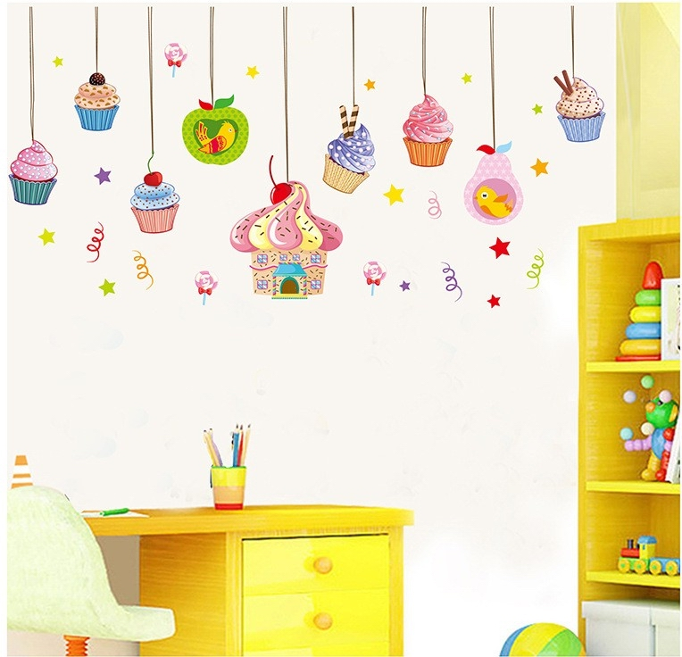 candy wall stickers delicious cake decor ice cream wallpaper birthday party decorations home store window vinyl - Party Decoration Stores