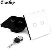 QIACHIP 2 Gang 2 Way EU Standard Plug Touch Switch ON OFF Remote Control Crystal Glass