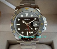 40mm PARNIS Asian automatic mechanical movement Men's watches Sapphire crystal ceramic Bezel  Mechanical watches 482a