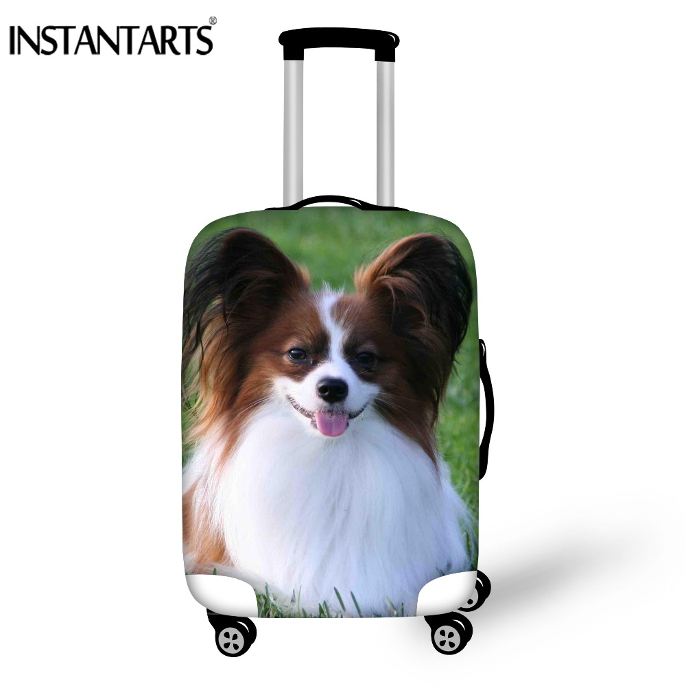 INSTANTARTS Travel On Road Luggage Cover Cute Papillon Dog Prints Protective Suitcase Cover Trolley Case Luggage Dust Cover 2018