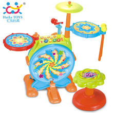2-in-1 Children Musical Instrument Boy & Girl Electronic Rock Roll Jazz Drum Kit Set w/ Piano Keyboard and Microphone and Stool