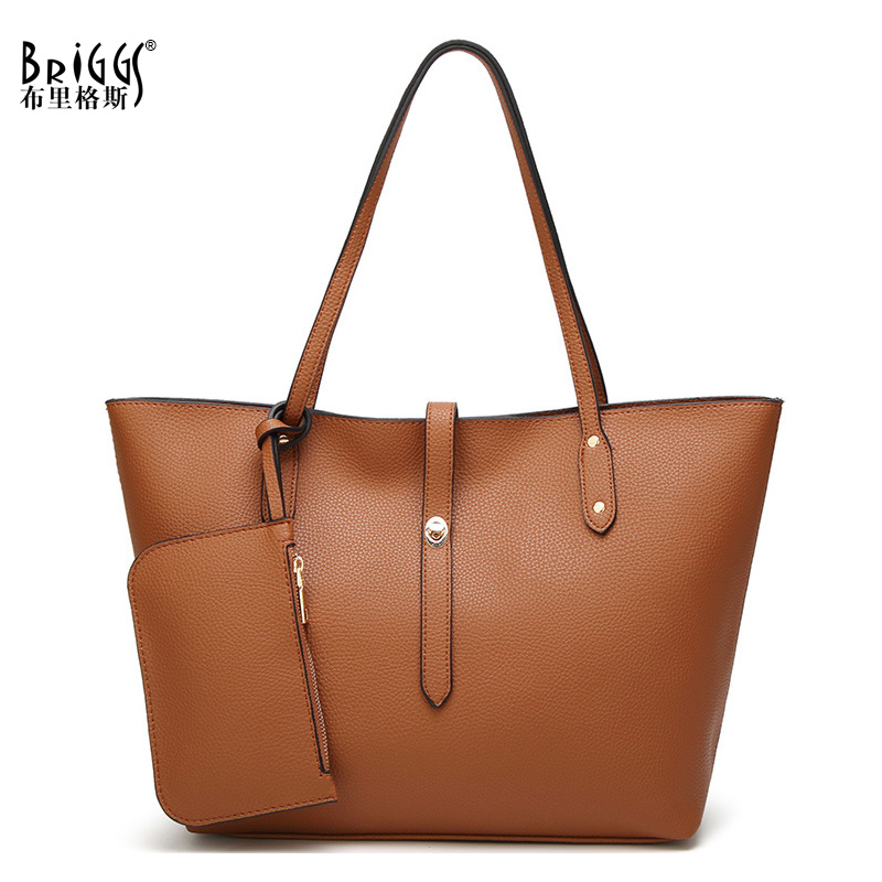 BRIGGS Women Handbag High Quality PU Leather Shoulder Bags Solid Designer Handbags Large Capacity Casual Tote Business Bag reprcla brand designer handbags women composite bag large capacity shoulder bags casual ladies tote high quality pu leather page 5